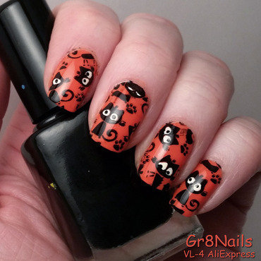 Black Cats nail art by Gr8Nails