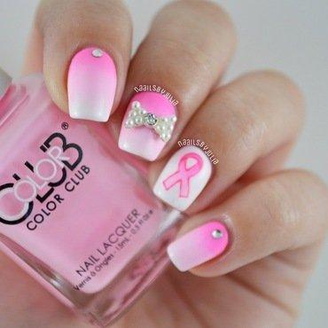 Breast cancer awareness nail art by Julia