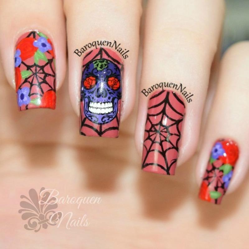Sugar Skull nail art by BaroquenNails