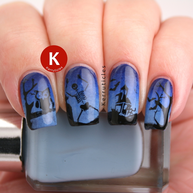 Blue Halloween scene nail art by Claire Kerr