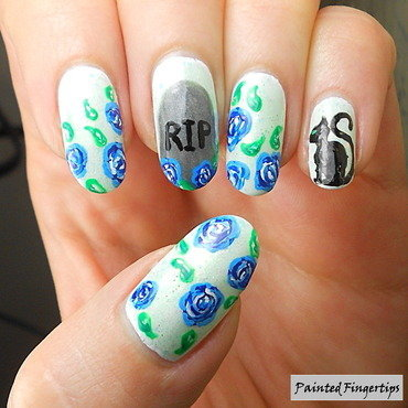Roses around a gravestone nail art by Kerry_Fingertips