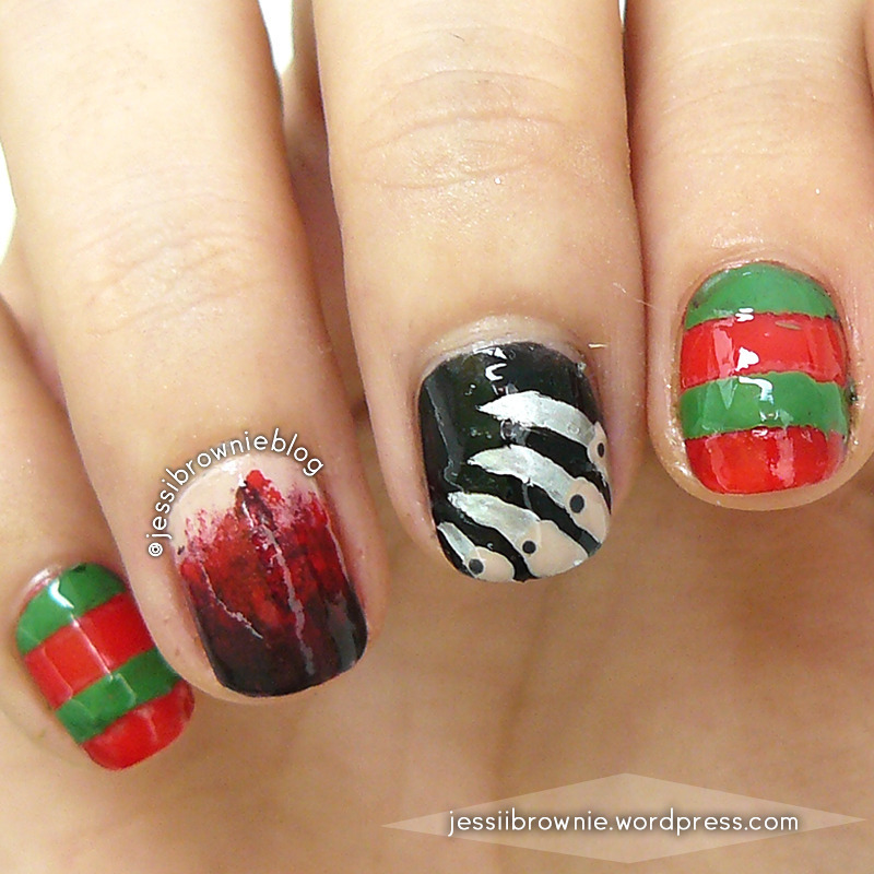 Freddy Kruger nail art nail art by Jessi Brownie (Jessi)