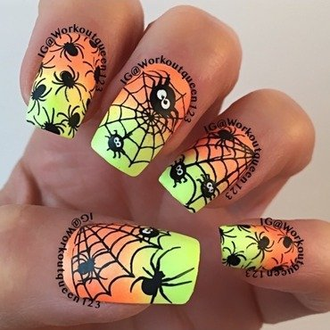 Spiders and spider webbs nail art by Workoutqueen123