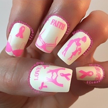 October is breast cancer awareness month nail art by Workoutqueen123