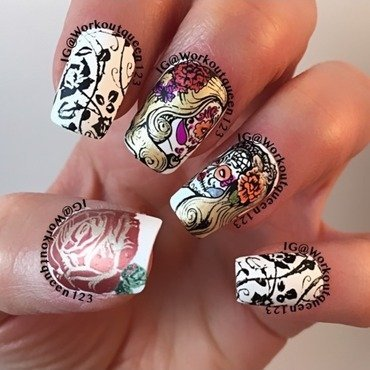 Sugar skulls nail art by Workoutqueen123