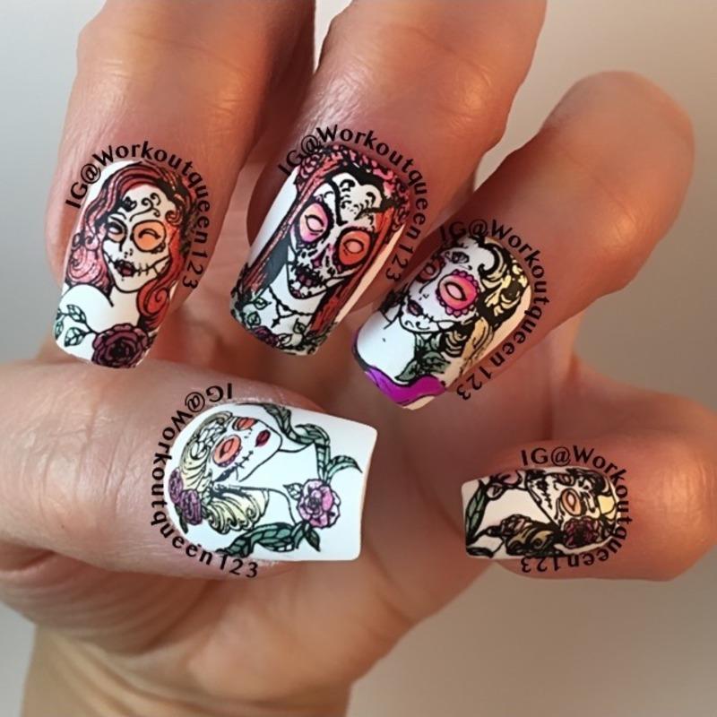 Sugar Skulls Laides nail art by Workoutqueen123