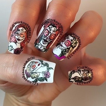 Sugar Skulls Laides nail art by Workoutqueen123