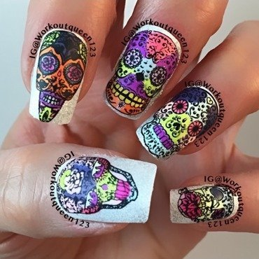 Skull Heads nail art by Workoutqueen123