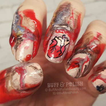 Zombie Hands for Halloween nail art by Buff & Polish