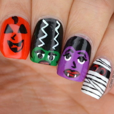 Halloween Monsters nail art by Jayne