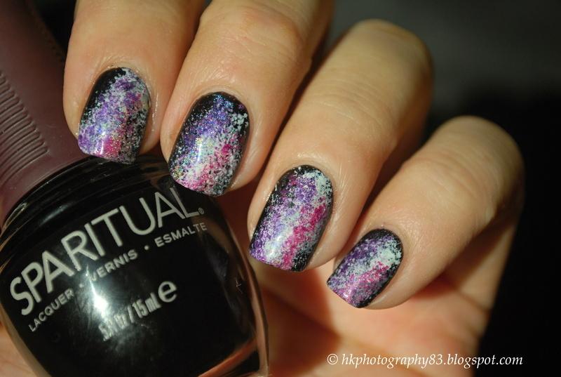 Galaxy nails nail art by Hana K.