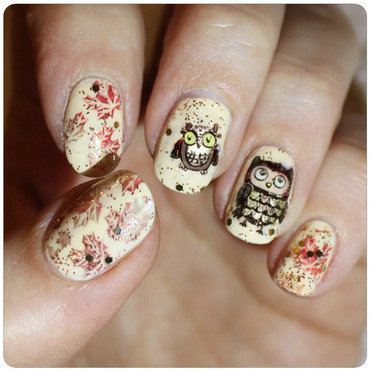 Autumn owls nail art by KataTM