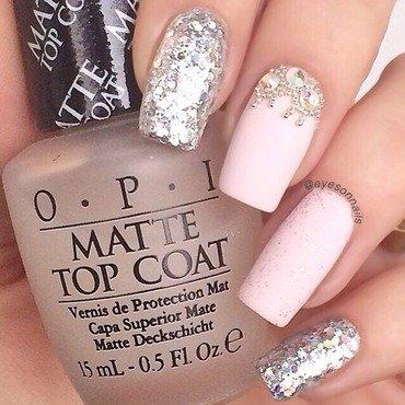 Matte pink & glitter  nail art by Virginia