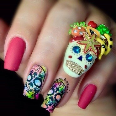 Day of The Dead nail art by Debbie