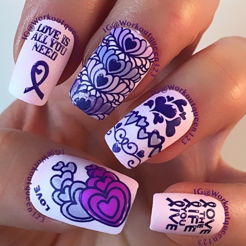 Pancreatic cancer awareness nail art by Workoutqueen123