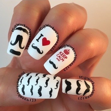Movember month for men's health nail art by Workoutqueen123