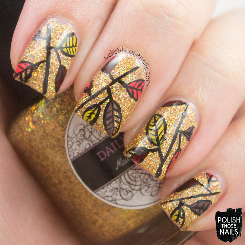 Glitzy Leaves nail art by Marisa  Cavanaugh