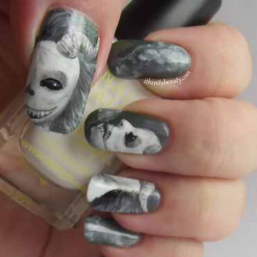 Sinister Sisters nail art by Ithfifi Williams