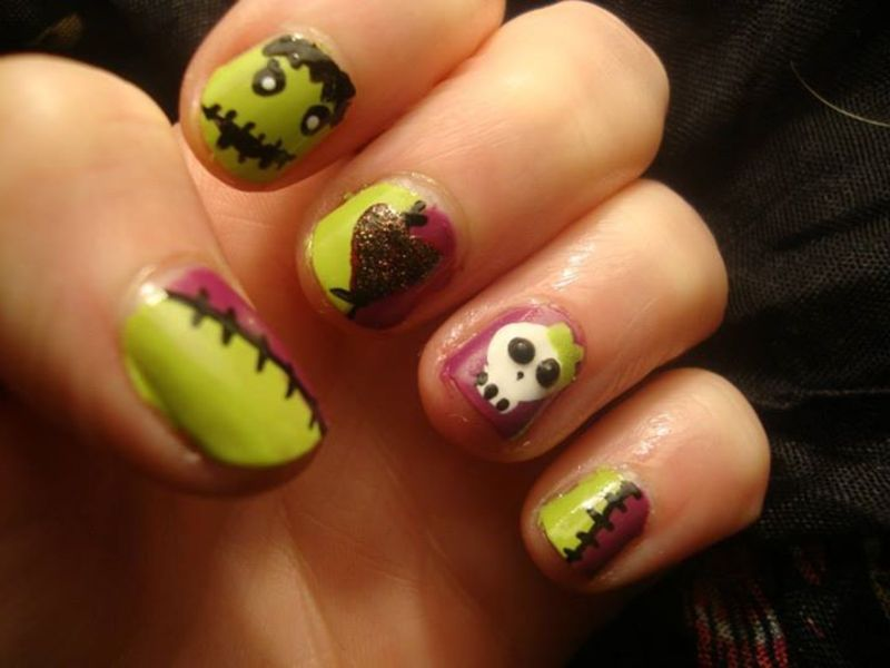 Halloween love story nail art by Stephanie
