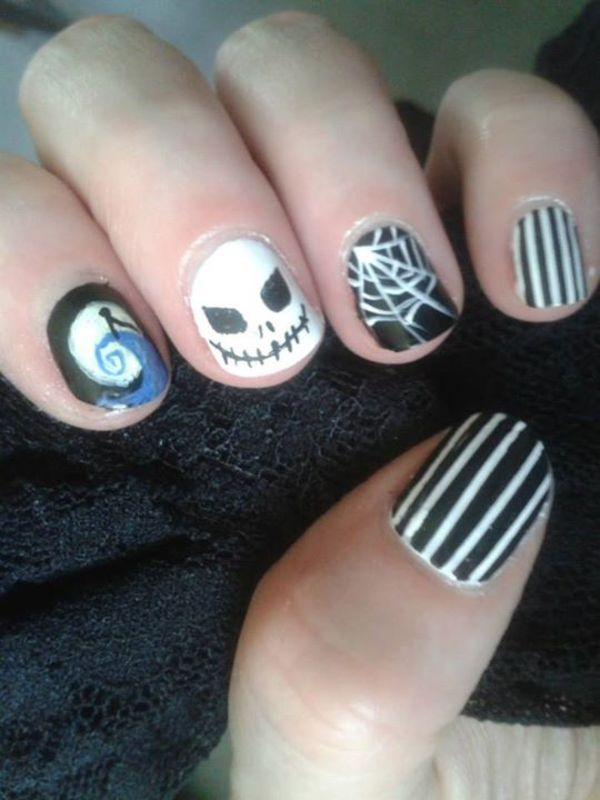 Nightmare before Christmas nail art by Stephanie