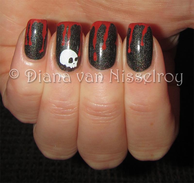 Bloody drips nail art by Diana van Nisselroy