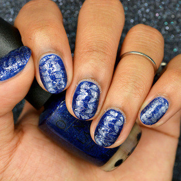 Silver and Blue Dry Marble nail art by Fatimah