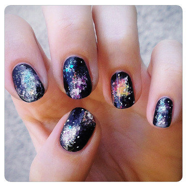 Galaxy nails nail art by KataTM