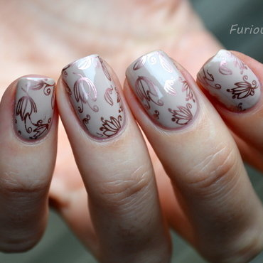 Delicate stamping  nail art by Furious Filer