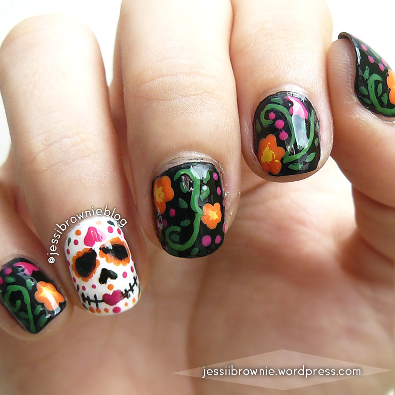 Dia de Muertos Nails nail art by Jessi Brownie (Jessi)