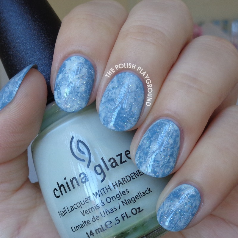 Blue Green Saran Wrap with Holographic Glitter nail art by Lisa N