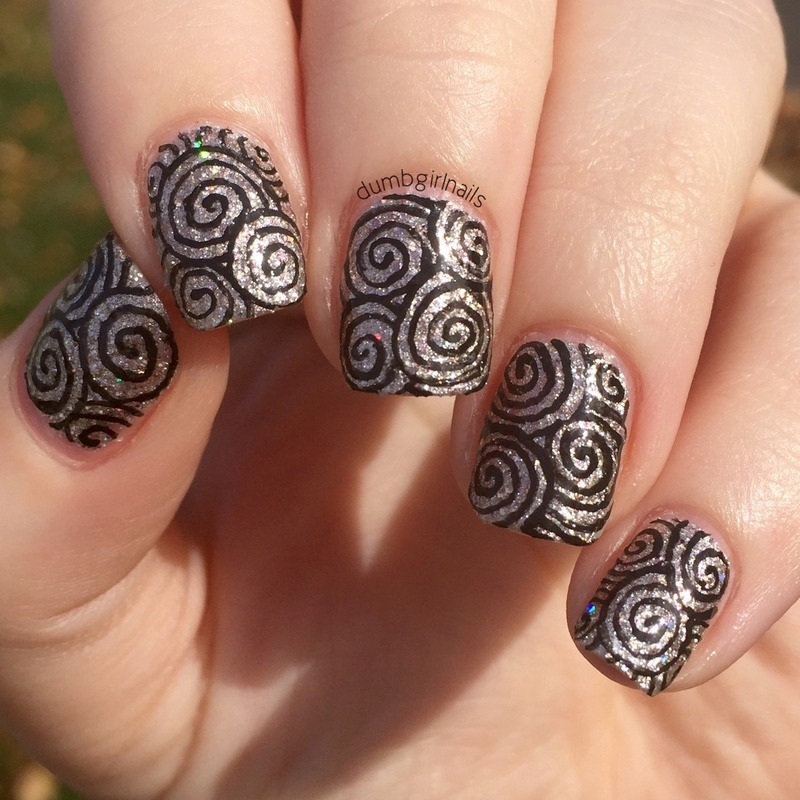 Swirly swirls nail art by Michelle