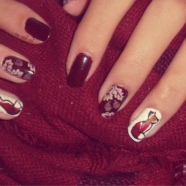 Fox and Leaves nail art by i-am-nail-art