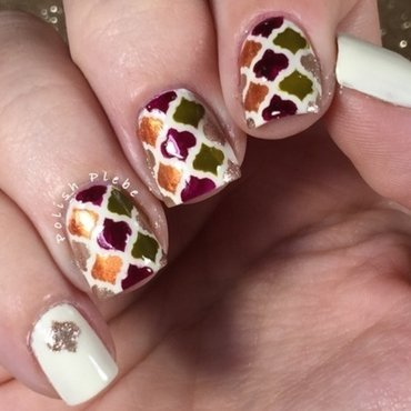 Autumn Moroccan nail art by Crystal Bond