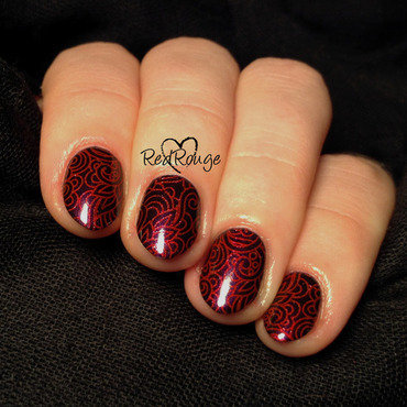 Red abstract stamping nail art by RedRouge