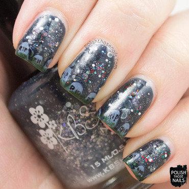 Glitter gravestone funky french halloween nail art 4 thumb370f
