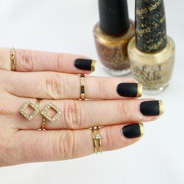 Goldeneye Matte Black French Side nail art by Ann-Kristin