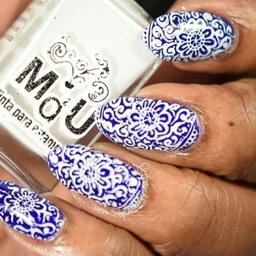 Blue & White Stamping nail art by glamorousnails23
