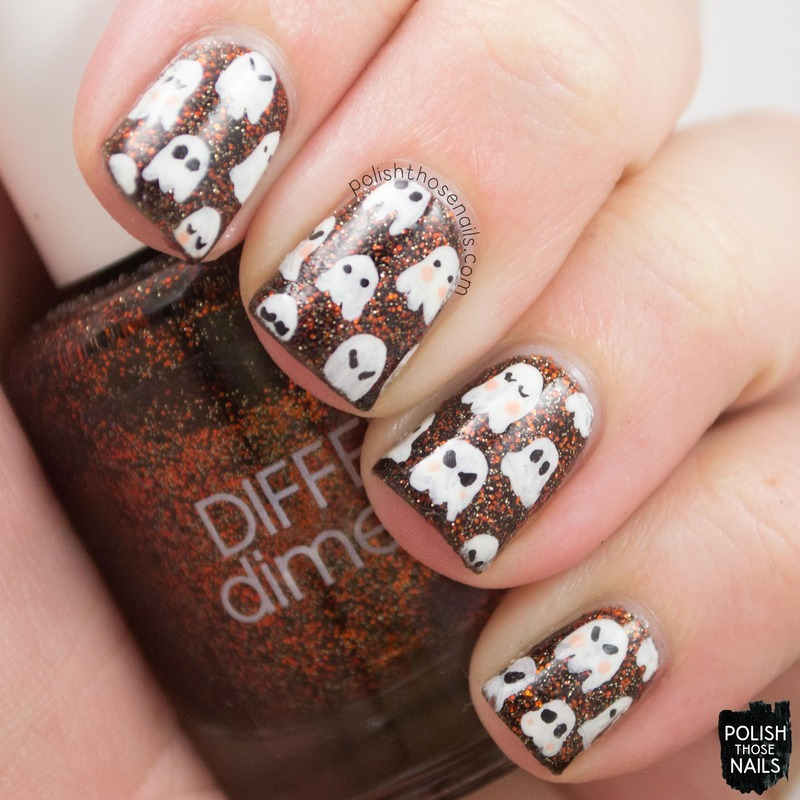 Halloween Ghosties nail art by Marisa  Cavanaugh