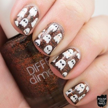 Orange glitter halloween ghost nail art 4 thumb370f