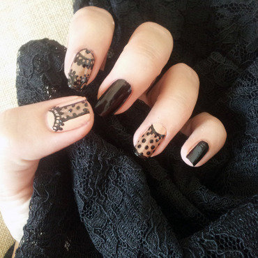 A little lace goes a long way ! nail art by Wiam T.