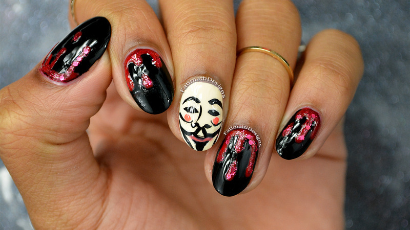 Remember Remember nail art by Fatimah