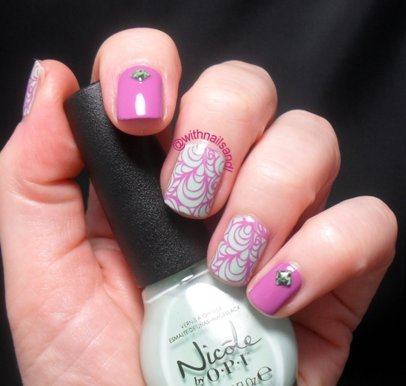 Pink Mint nail art by WithnailsandI