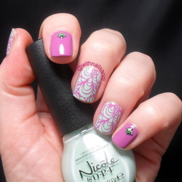 Pink Mint nail art by WithnailsandI