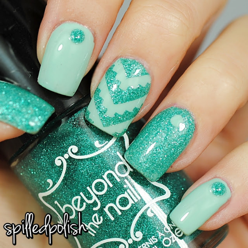 Mint Aztec Nails nail art by Maddy S