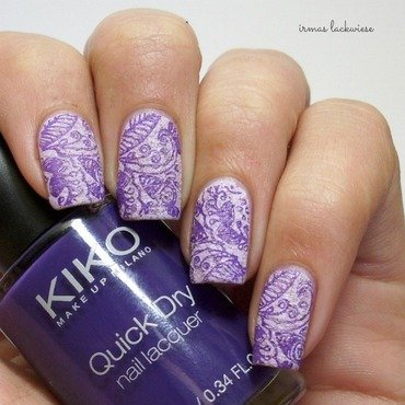 purple stamping nail art by irma
