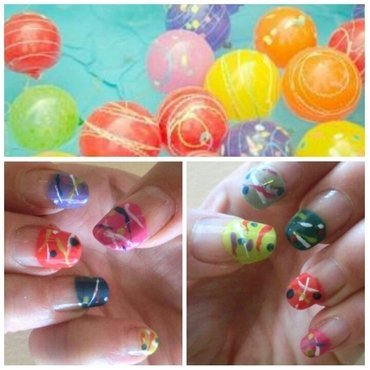 Water Balloon YOYO nail art by girasol
