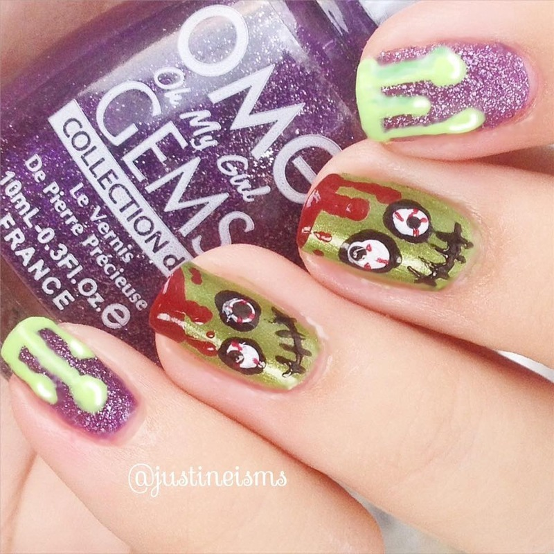 Zombies nail art by ℐustine
