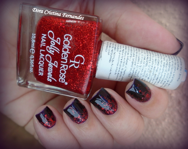 Red Plum nail art by Dora Cristina Fernandes