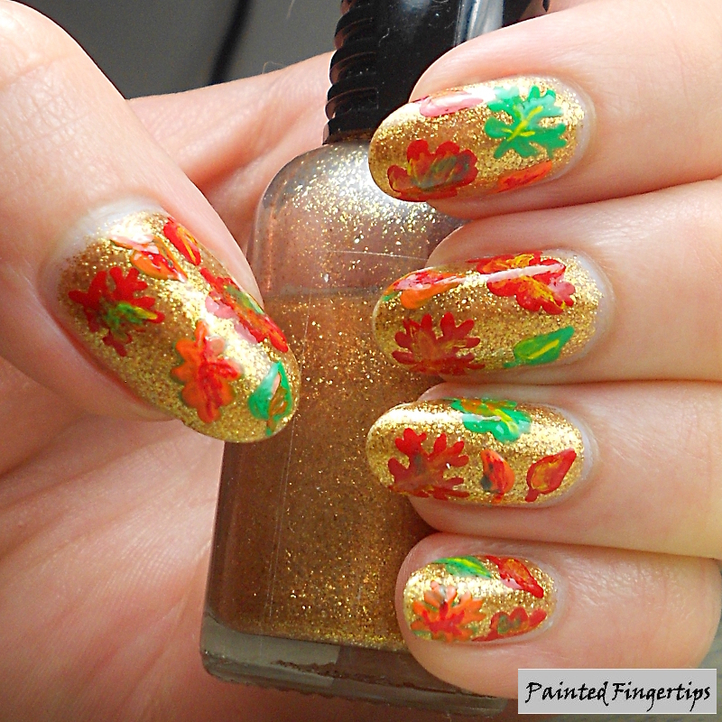 Fall leaves nail art by Kerry_Fingertips