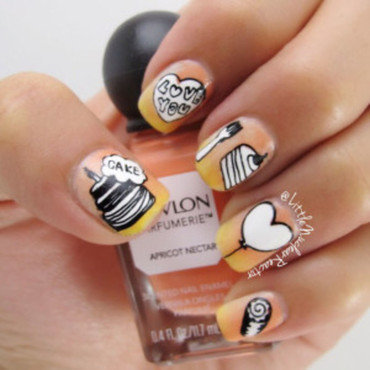 Cafe Love nail art by LittleNuclearReactor